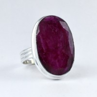 Adjustable Dyed Ruby Ring 925 Sterling Silver Handmade Silver Ring Jewelry Engagement Ring Promises Ring
