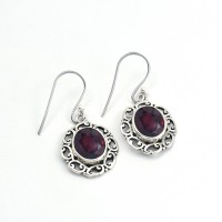 Natural Red Garnet 925 Sterling Silver Earring Jewelry