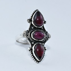 Red Garnet 925 Sterling Silver Friendship Ring Jewelry Boho Ring Jewelry Gift For Her