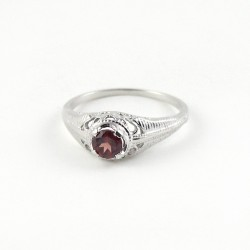 Natural Red Garnet 925 Sterling Silver Rhodium Plated Ring Jewelry For Her