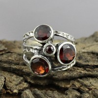 Natural Red Garnet 925 Sterling Silver Solitaire Ring Jewelry