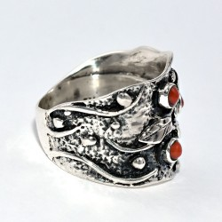 Red Moonga Ring 925 Sterling Silver Handmade Ring Band Ring Oxidized Jewelry