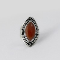 Charming !! Bezel Setting Red Onyx 925 Sterling Silver Ring