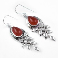 Red Onyx Dangle Earring 925 Sterling Silver Women Handcrafted Silver Earring Jewellery
