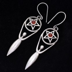 Red Onyx Drop Dangle Earring Solid 925 Sterling Silver Handmade Oxidized Silver Jewelry