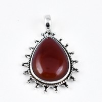 Red Onyx Pendant Handmade 925 Sterling Silver Women Handcrafted Silver Jewellery
