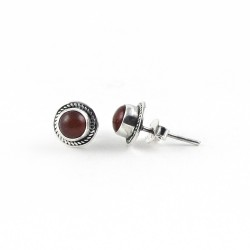 Red Onyx Round Shape 925 Sterling Silver Stud Earring Jewelry