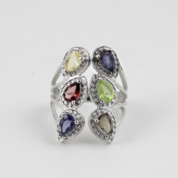 Rhodium Plated 925 Sterling Silver Multi Stone Friendship Ring