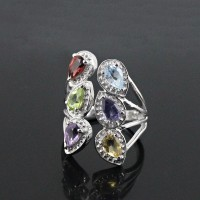 Rhodium Plated 925 Sterling Silver Multi Stone Ring