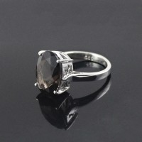 Rhodium Plated 925 Sterling Silver Smoky Quartz Handmade Ring Jewelry