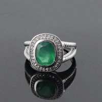 Rhodium Plated American Diamond Green Onyx 925 Sterling Silver Ring Jewelry