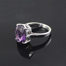 Rhodium Plated Amethyst 925 Sterling Silver Ring Jewelry