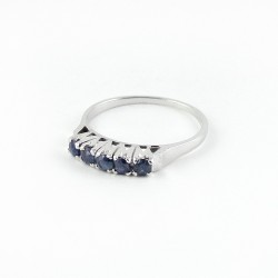 925 Sterling Silver Jewelry !! Rhodium Plated Blue Sapphire Ring Jewelry