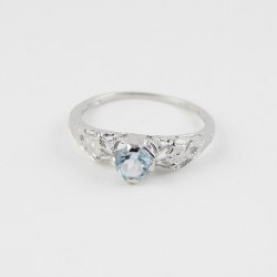 Amazing Light !! Rhodium Plated Blue Topaz 925 Sterling Silver Ring