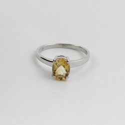 Rhodium Plated Natural Citrine 925 Sterling Silver Ring Jewelry