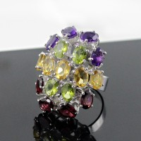 Rhodium Plated Multi Color Stone 925 Sterling Silver Ring Handmade Jewelry Gift For Her