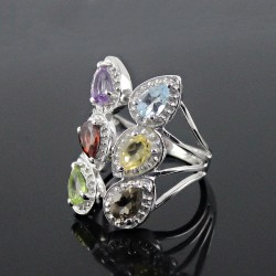 Rhodium Plated Natural Multi Color Stone 925 Sterling Silver Ring Jewelry