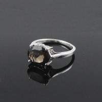 Delicate Prong Setting Rhodium Plated Smoky Quartz 925 Sterling Silver Ring Jewelry