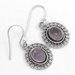 Rose Quartz Drop Dangle Earring Handmade 925 Sterling Silver Oxidized Silver Women Earring Jewelry