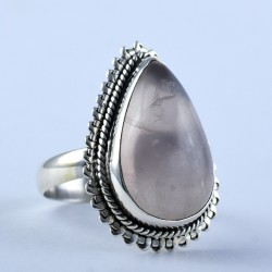 Rose Quartz Ring Pear Faceted Gemstone 925 Sterling Silver Jewelry Engagement Ring Gift For Her