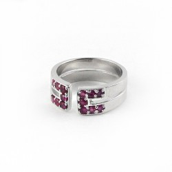 Attractive Look !! Ruby 925 Sterling Silver Rhodium Plated Band Ring Jewelry