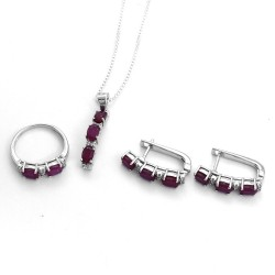 Ruby American Diamond Ring Earring Rhodium Polished Silver Jewellery Set 925 Sterling Silver Handmade Jewellery For Her