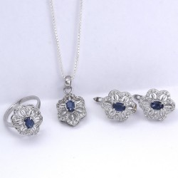 Sapphire American Diamond Ring Earring Jewelry Set 925 Sterling Silver Handmade Rhodium Polished 925 Stamped Jewellery