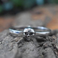 Skull Band Ring Solid 925 Sterling Silver Ring Handmade Oxidized Silver Jewellery