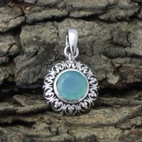 Natural Chalcedony 925 Sterling Silver Pendant Fashion Jewelry