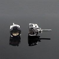 Smoky Quartz Stud Earring Rhodium Plated 925 Sterling Silver Jewelry