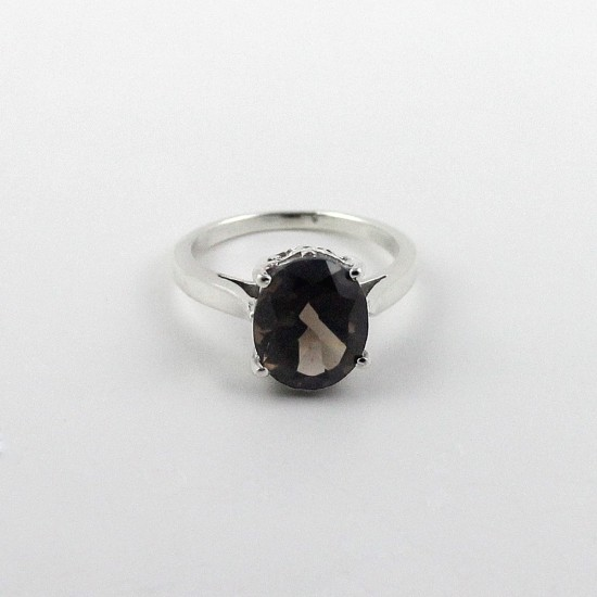 Brown Smoky Quartz Rhodium Plated 925 Sterling Silver Ring Jewelry