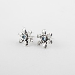Stud Earring Blue Topaz 925 Sterling Silver Jewelry