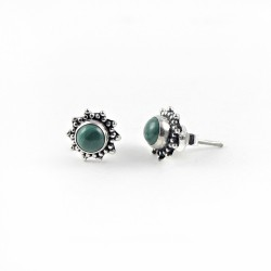 Stud Earring Malachite Gemstone 925 Sterling Silver Jewelry Gift For Her