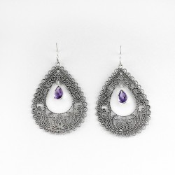 A Perfect Way !! Purple Amethyst 925 Sterling Silver Earring