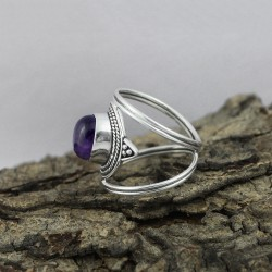 Stunning Purple Amethyst 925 Sterling Silver Ring Jewelry For Her