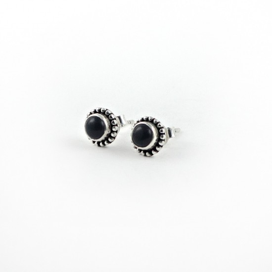 Stunning Black Onyx 925 Sterling Silver Stud Earring Jewelry