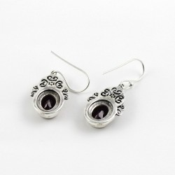 Genuine Red Garnet 925 Sterling Silver Earring