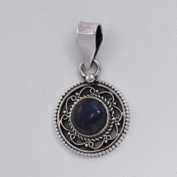 Stunning Labradorite 925 Sterling Silver Oxidized Pendant Ethnic Design Jewelry