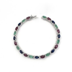 Stunning Multi Color Gemstone 925 Sterling Silver Bracelet Jewelry