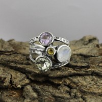 Stunning Multi Color Stone 925 Sterling Silver Friendship Ring Jewelry