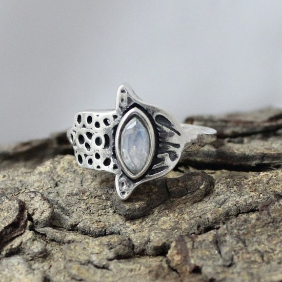 Authentic Rainbow Moonstone 925 Sterling Silver Ring