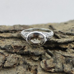 Oval Shape Smoky Quartz 925 Sterling Silver Ring