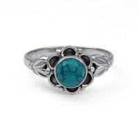 Stunning Round Turquoise Ring 925 Sterling Silver Handmade Jewelry