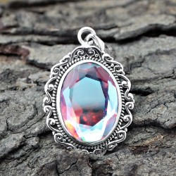 Magical Opal Glass Cut Stone 925 Sterling Silver Pendant Jewelry