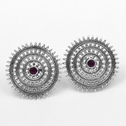 Sweet Honey Dyed Ruby Stud Earring 925 Sterling Solid Silver Manufacture Silver Jewelry