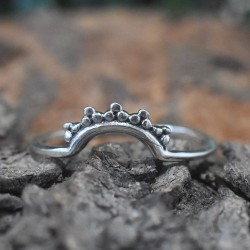 Tiara Ring Oxidized Silver Jewelry Solid 925 Sterling Silver Handmade Band Ring Jewelry Gift For Her