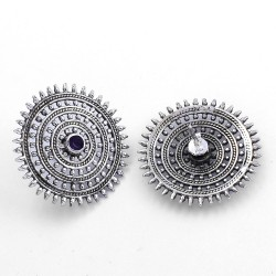 Touch Of Life Blue Iolite Studs Earring Oxidized Jewelry 925 Sterling Silver Wholesale Silver Jewelry