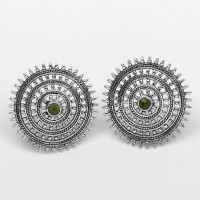 Trendy Style Natural Peridot Studs Earring Solid 925 Sterling Silver Women Handcrafted Silver Jewellery