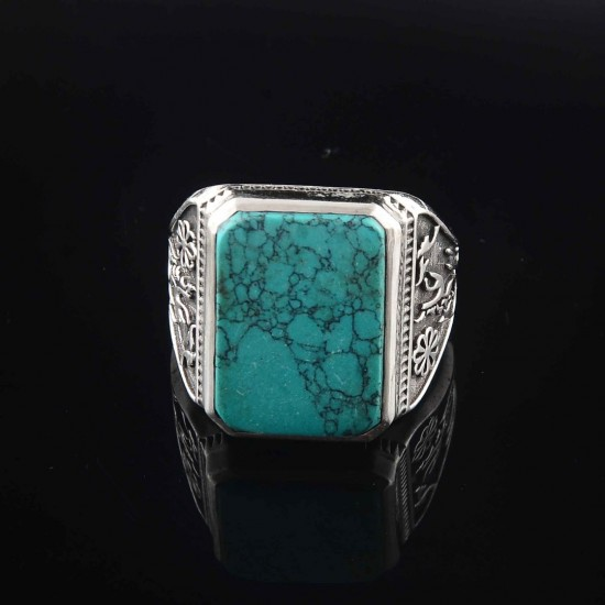 Turquoise Rectangle Shape Indian 925 Silver Ring Handmade Silver Ring Turquoise !! 925 Sterling Silver Ring Jewelry
