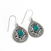 Beautiful Silver Earring !! Turquoise 925 Sterling Silver Dangle Earring Jewelry